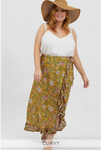 PLUS BOHO WRAP MAXI SKIRT