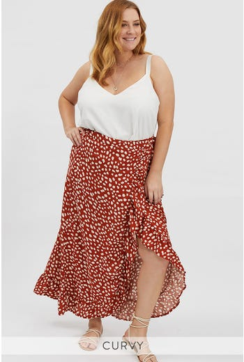 PLUS GEO WRAP MAXI SKIRT