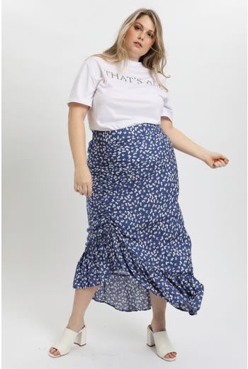 PLUS FLORAL DRAWSTRING FRILL MAXI SKIRT