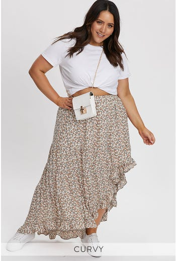 PLUS FLORAL PRINT ASYMMETRIC SPLIT MAXI SKIRT