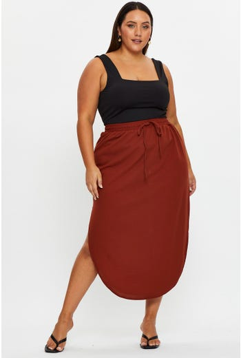 Plus Elastic Waist Curved Hem Midi Skirt