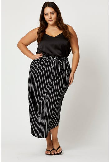 Plus Stripe Print Curved Hem Midi Jersey Skirt