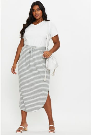 Plus Stripe Elastic Waist Curved Hem Midi Skirt