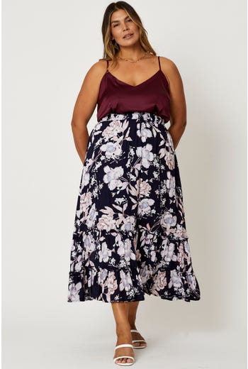 Plus Floral Tiered Midi Skirt