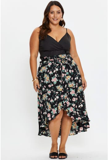 Plus High Waist Floral Print Frill Wrap Midi Skirt