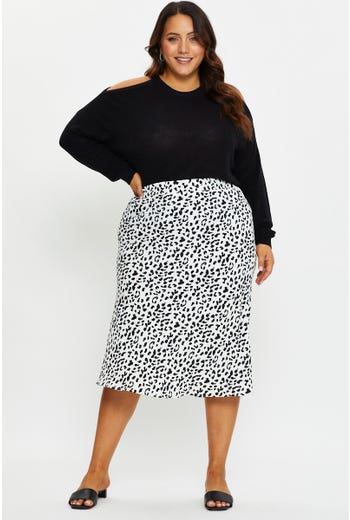 Plus Animal Print Slip Midi Skirt