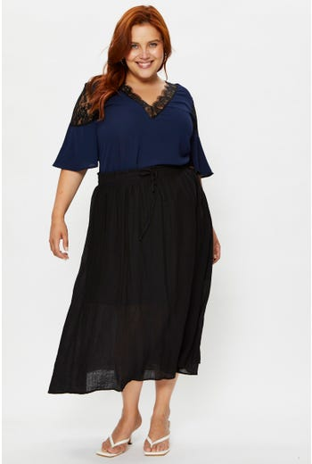 Plus Linen Blend Curved Hem Midi Skirt
