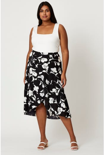 Plus Floral Print Wrap Midi Skirt