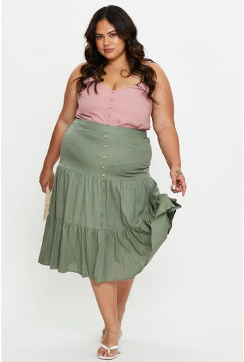 Plus Tiered Linen Midi Skirt