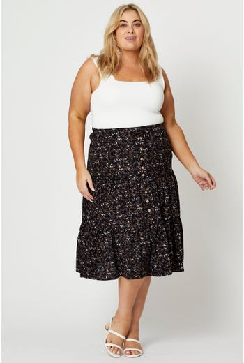 Plus Ditsy Floral Print Tiered Midi Skirt