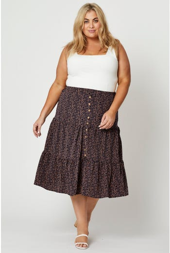 Plus Disty Floral Print Tiered Midi Skirt