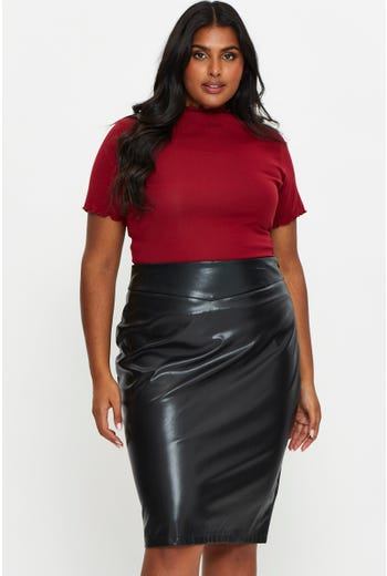 Plus Faux Leather Pencil Skirt