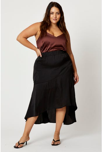 Plus Silky Asymmetrical Seam Detail A-Line Skirt