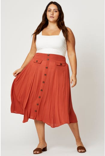 Plus Button Detail Midi Skirt