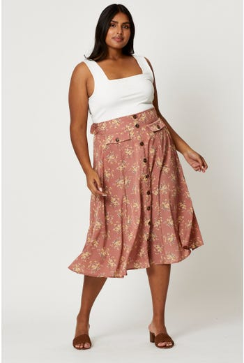 Plus Floral Print Button Detail Midi Skirt