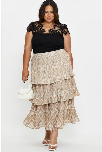 Plus Layered Midi Skirt