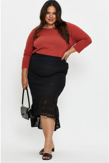Plus Lace Ruffle Hem Pencil Skirt