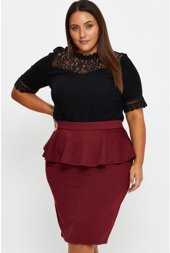 Plus Ponte Peplum Waist Pencil Skirt