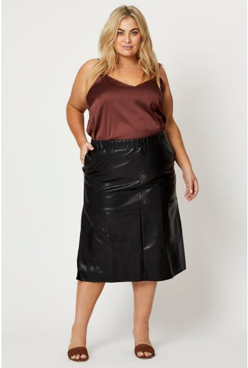 Plus A-Line Faux Leather Midi Skirt