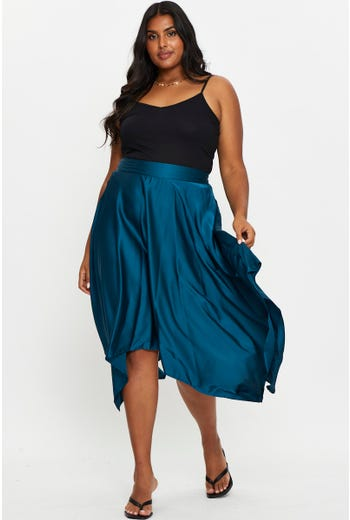 Plus Satin Sharkbite Midi Skirt