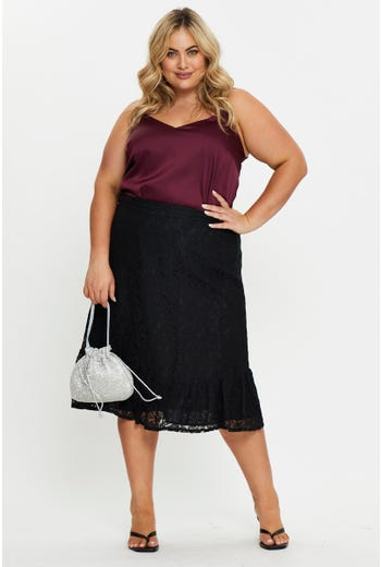 Plus Lace Ruffle Hem Skirt