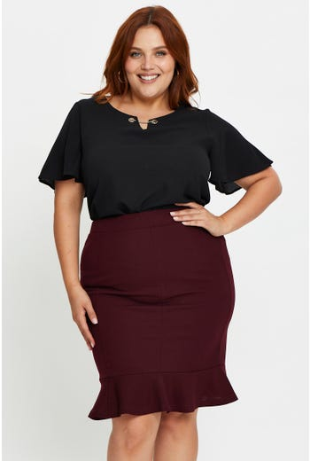 Plus Crepe Mermaid Hem Pencil Skirt