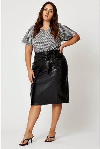 Plus Faux Leather Tie Up Wrap Midi Skirt