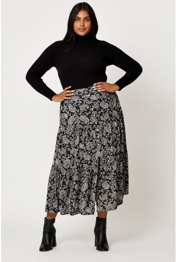Plus Button Front Tiered Skirts