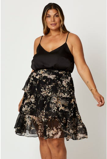 Plus Floral Print Ruffle Layer Skirt