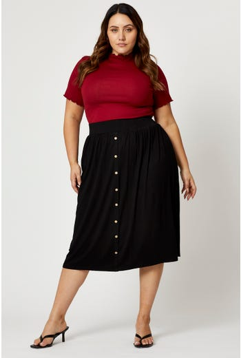Plus Button Front Relaxed Flare Skirt