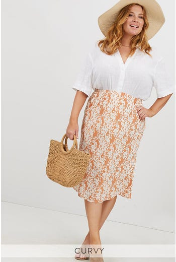 PLUS FLORAL PRINT SLIP SKIRT