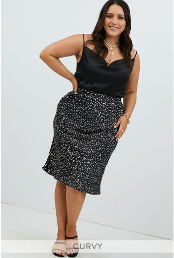 PLUS GEO PRINT SLIP SKIRT