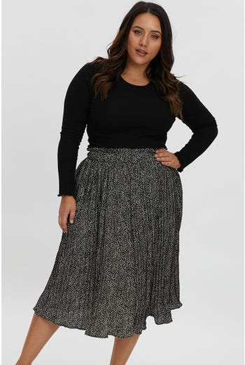 PLUS GEO PRINT PLEATED SKATER MIDI SKIRT