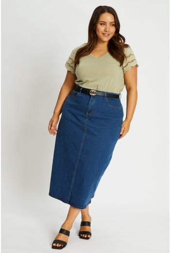 Plus Stretch Denim Midi Skirt