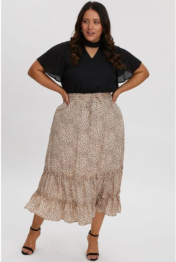 PLUS ANIMAL FRILL DETAIL MAXI SKIRT