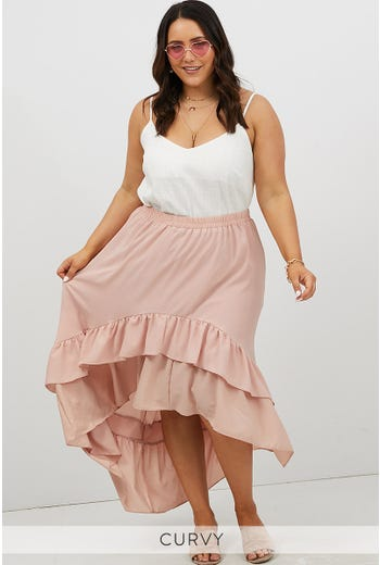 PLUS RUFFLE HEM MIDI SKIRT