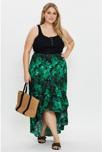 Plus High Waist Tropical Print Floral Skirt