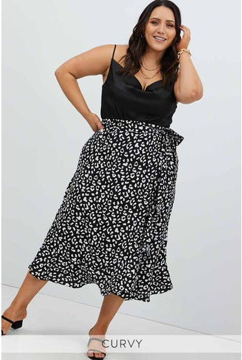 PLUS ANIMAL WRAP MIDI SKIRT