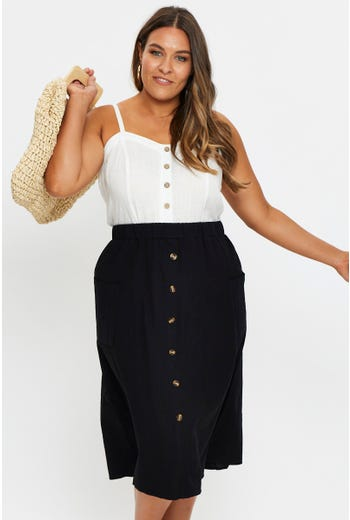 Plus Button Front Midi Flare Skirt
