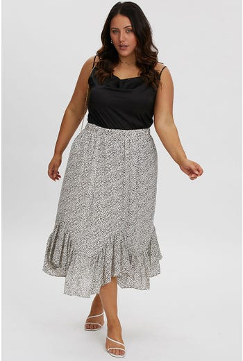 PLUS FRILL HEM DETAIL MIDI SKIRT