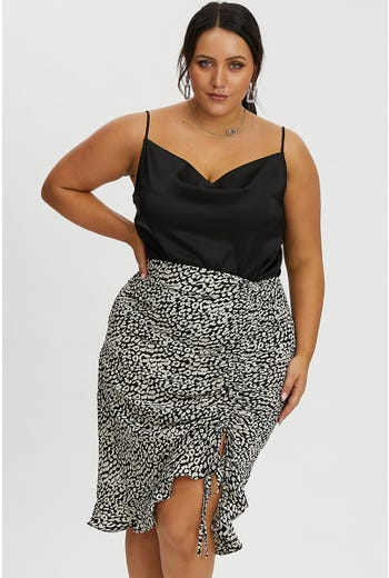 PLUS ANIMAL DRAWSTRING MIDI SKIRT