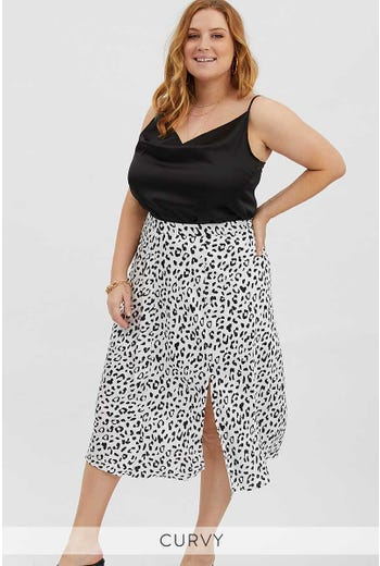 PLUS ANIMAL PRINT SLIP SKIRT