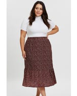 Plus Pebble Print Frill Midi Skirt