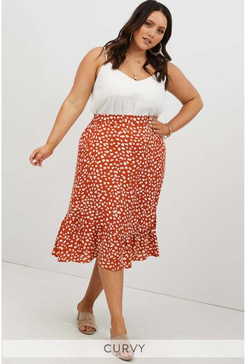 PLUS PEBBLE PRINT FRILL HEM MIDI SKIRT