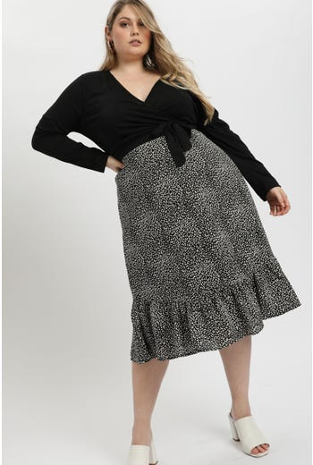 Plus Animal Print Frill Hem Midi Skirt