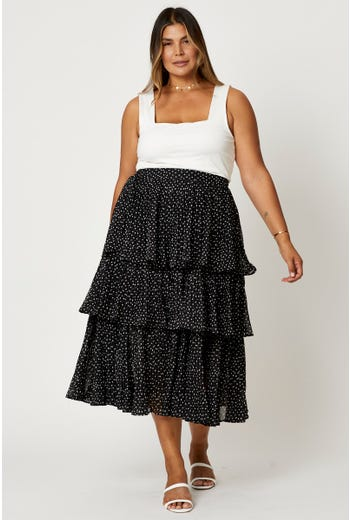 Plus Pleated Geo Dot Layered Skater Midi Skirt