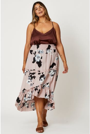 Plus High Waist Boho Print Maxi Skirt