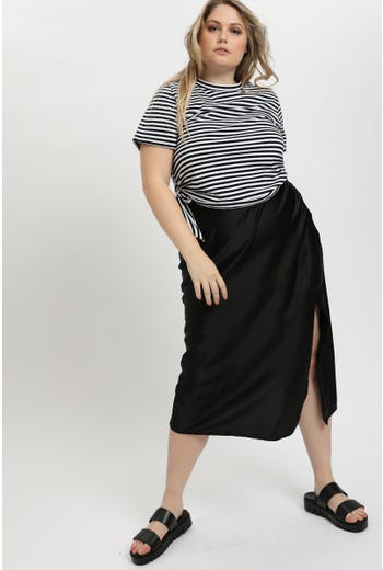 Plus Front Split Slip Skirt