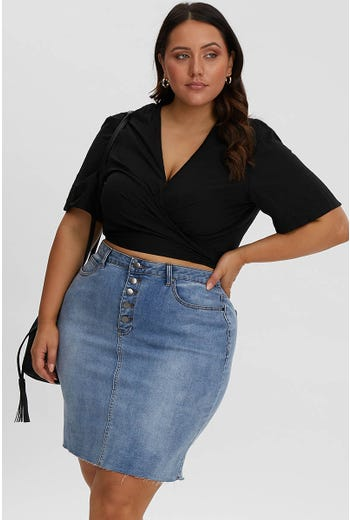 PLUS KYLIE 5 BUTTON DENIM SKIRT
