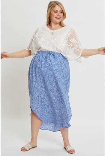 Plus Floral Print Curved Hem Drawstring Midi Skirt